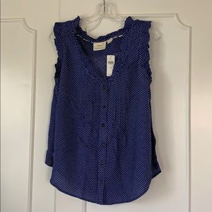 NWT Maeve blue dotted top